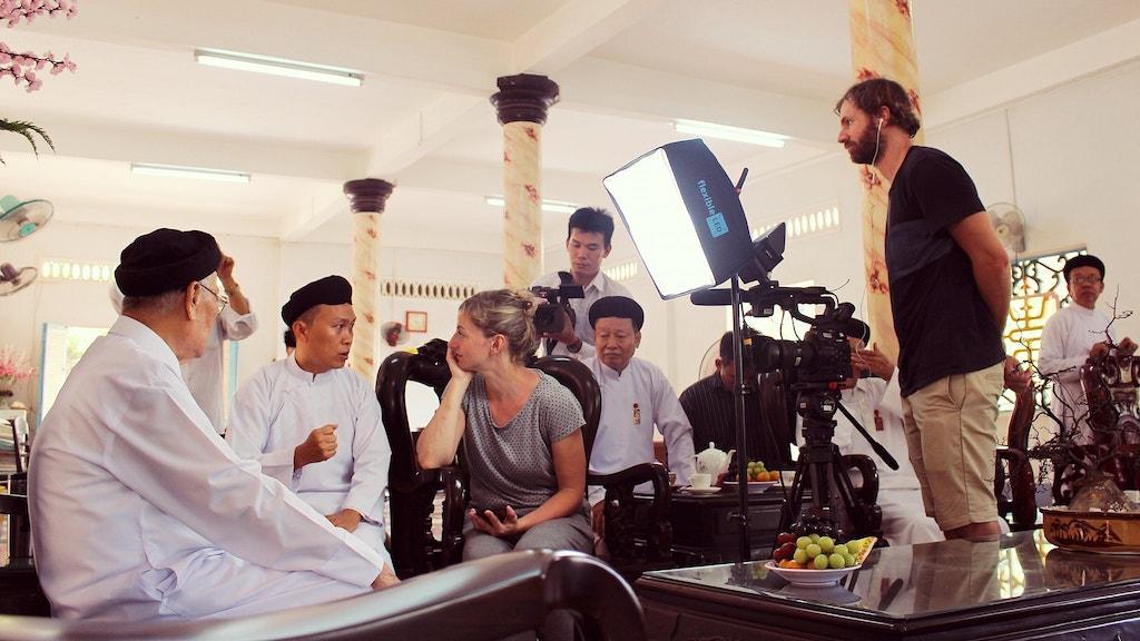 filming at Cao dai temple, tay ninh, Vietnam