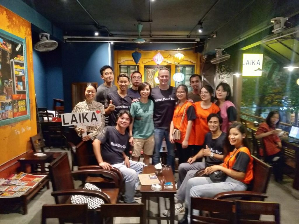 Filming with Hanoi beer tour