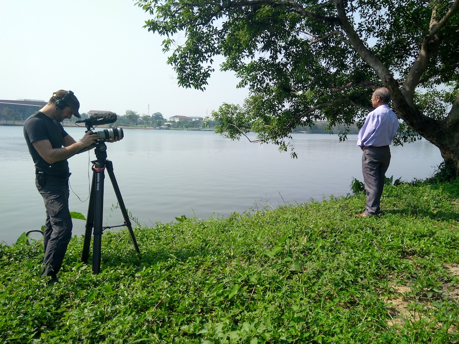 Filming Huong river in Hue