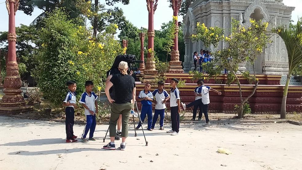filming at Khmer pagoda, An Giang, Vietnam