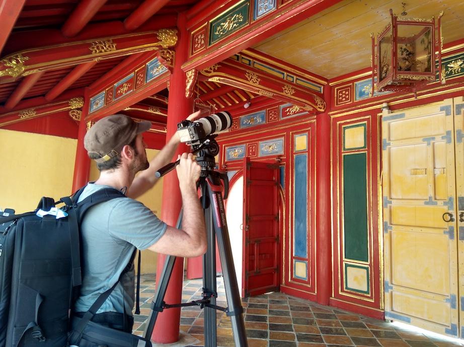 Filming royal tomb Hue