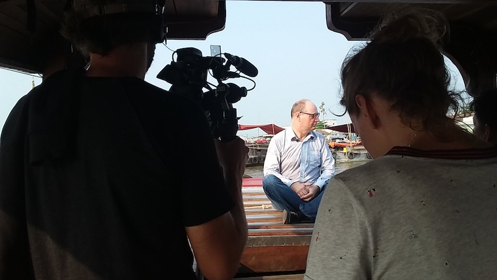filming at Cai Rang floating market in Can Tho