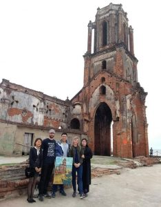 Filming at Hai Ly ruined church, Nam Dinh, Vietnam