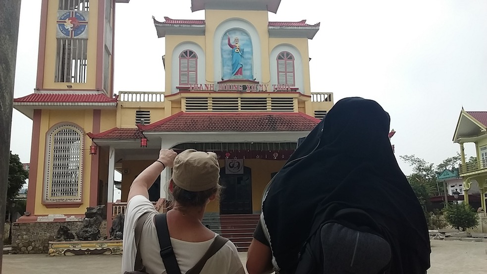 filming at a church in Vietnam
