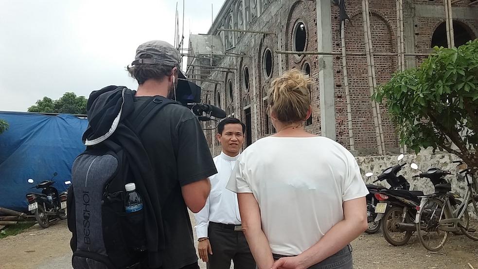 Interview Priest Dinh at Phat Diem church