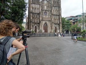 Filming at St Joseph Cathedral, Hanoi